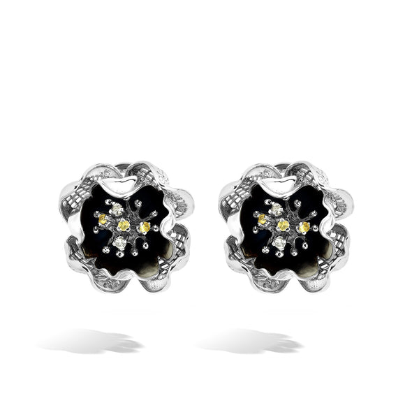 Gallica - Silver Night Bloom Earrings - Topaz Jewelry USA - ROBERTO BRAVO