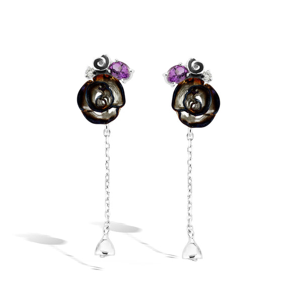 Gallica - Silver Amethyst Night Bloom Earrings - Topaz Jewelry USA - ROBERTO BRAVO
