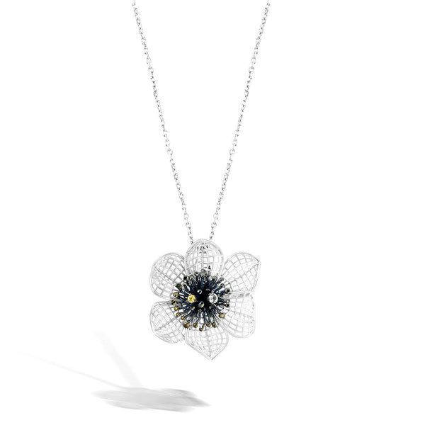 Gallica - Silver Lattice Bloom Necklace - Topaz Jewelry USA - ROBERTO BRAVO - 1