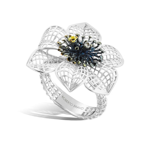 Gallica - Silver Lattice Bloom Ring - Topaz Jewelry USA - ROBERTO BRAVO