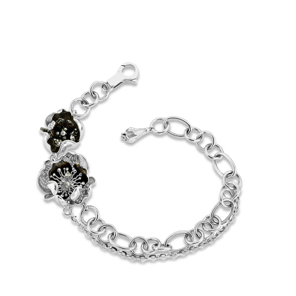 Gallica - Silver Night Bloom Bracelet - Topaz Jewelry USA - ROBERTO BRAVO