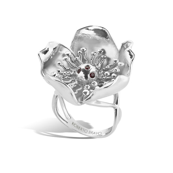 Gallica - Silver Bloom Ring - Topaz Jewelry USA - ROBERTO BRAVO