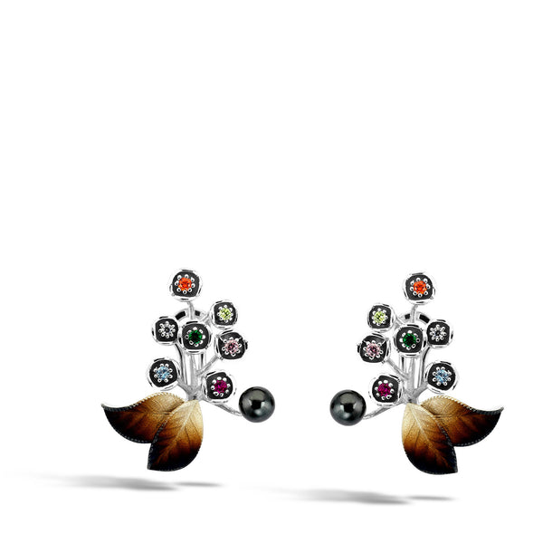 GW - Silver Pearl Autumn Earrings - Topaz Jewelry USA - ROBERTO BRAVO