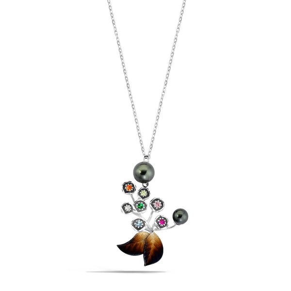 GW - Silver Pearl Autumn Necklace - Topaz Jewelry USA - ROBERTO BRAVO