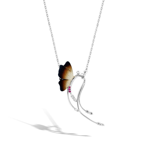 GW - Silver Amethyst Butterfly Necklace - Topaz Jewelry USA - ROBERTO BRAVO