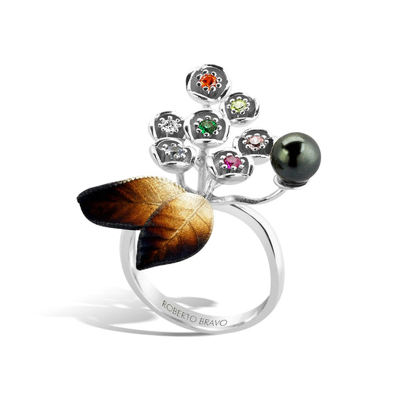 GW - Silver Pearl Autumn Ring - Topaz Jewelry USA - ROBERTO BRAVO