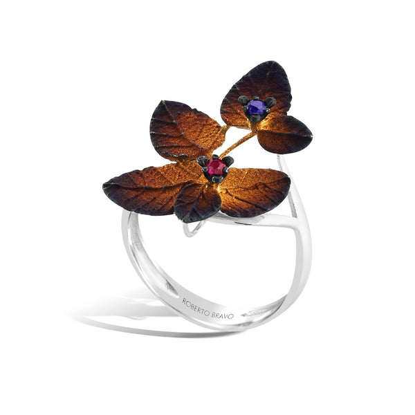 GW - Silver Bejeweled Autumn Ring - Topaz Jewelry USA - ROBERTO BRAVO