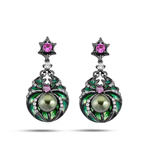 Kaleidoscope - Amethyst and Diamond  Pearl Earrings - Topaz Jewelry USA - ROBERTO BRAVO