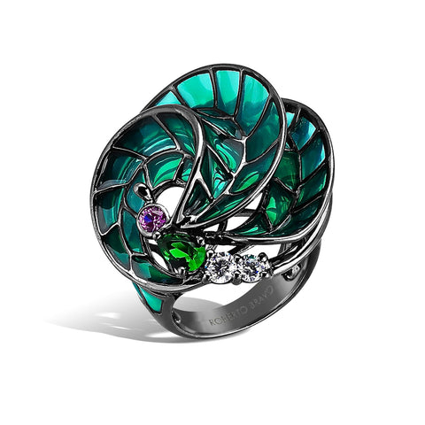Kaleidoscope - Amethyst and Emerald Seascape Ring - Topaz Jewelry USA - ROBERTO BRAVO