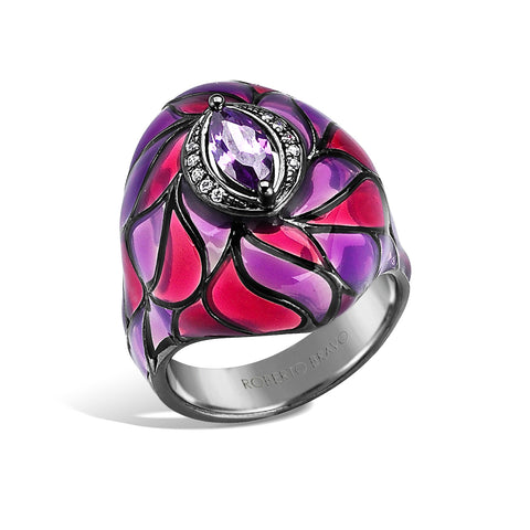 Kaleidoscope - Amethyst and Diamond Ring - Topaz Jewelry USA - ROBERTO BRAVO
