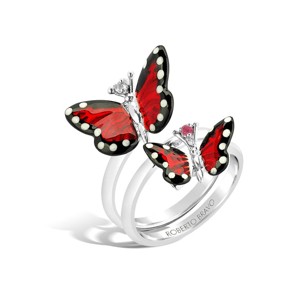 Monarch Butterfly - Silver White Sapphire Coil Ring - Topaz Jewelry USA - ROBERTO BRAVO - 1