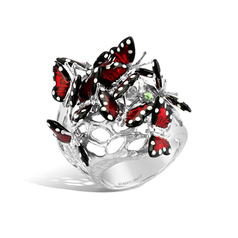 Monarch Butterfly - Silver White Sapphire Ring - Topaz Jewelry USA - ROBERTO BRAVO