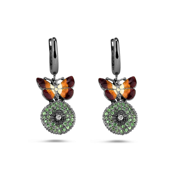 Noah's Ark Night - Rhodium Silver White Sapphire Earrings - Topaz Jewelry USA - ROBERTO BRAVO