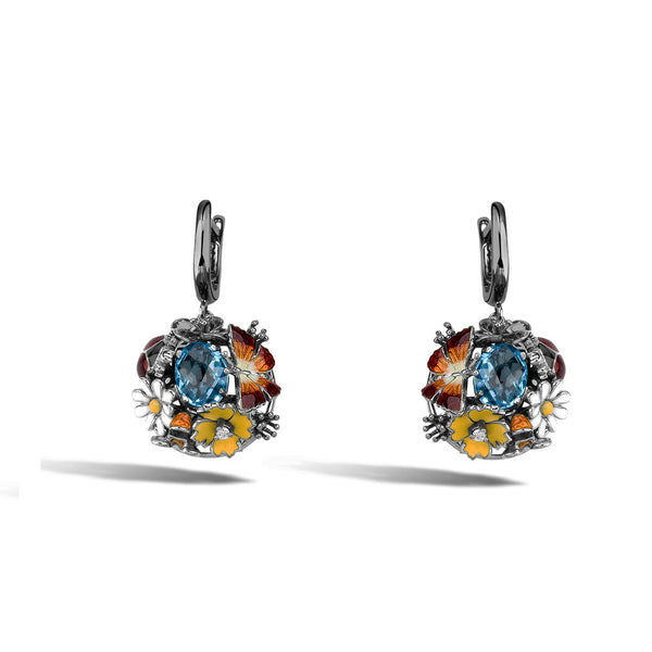 Noah's Ark Night - Rhodium Silver Topaz Earrings - Topaz Jewelry USA - ROBERTO BRAVO