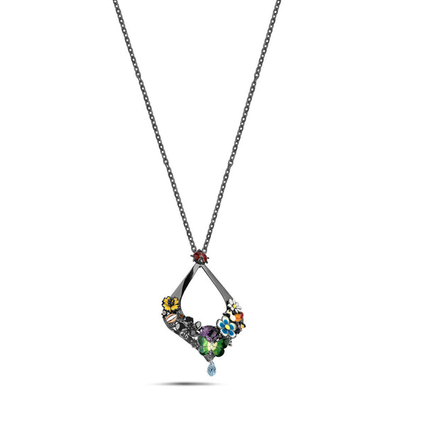 Noah's Ark Night - Rhodium Silver Amethyst Necklace - Topaz Jewelry USA - ROBERTO BRAVO