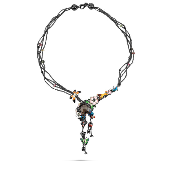 Noah's Ark Night - Rhodium Silver Topaz Necklace - Topaz Jewelry USA - ROBERTO BRAVO - 1