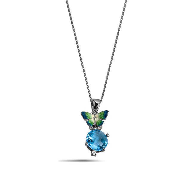 Noah's Ark Night - Rhodium Silver Topaz Necklace - Topaz Jewelry USA - ROBERTO BRAVO