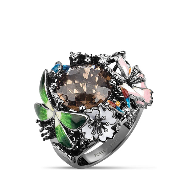 Noah's Ark Night - Rhodium Silver Smoky Topaz Ring - Topaz Jewelry USA - ROBERTO BRAVO