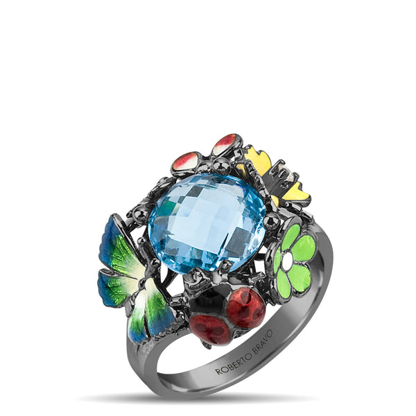 Noah's Ark Night - Rhodium Silver Topaz Ring - Topaz Jewelry USA - ROBERTO BRAVO