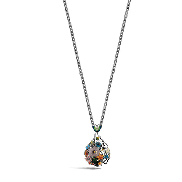 Noah's Ark Night - Rhodium Silver Chalcedony Necklace - Topaz Jewelry USA - ROBERTO BRAVO