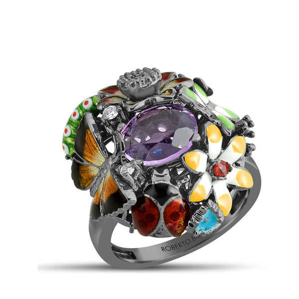 Noah's Ark Night - Rhodium Silver Amethyst Ring - Topaz Jewelry USA - ROBERTO BRAVO