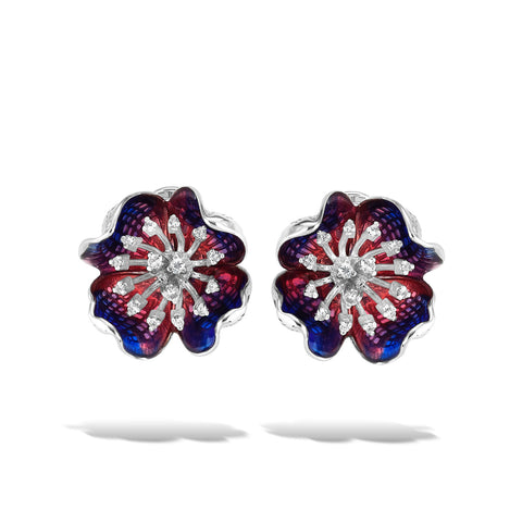 Tanzanite - Silver Sapphire Bloom Earrings - Topaz Jewelry USA - ROBERTO BRAVO