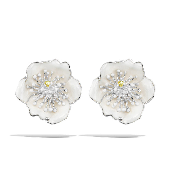 White Dreams - Silver Bloom Earrings - Topaz Jewelry USA - ROBERTO BRAVO