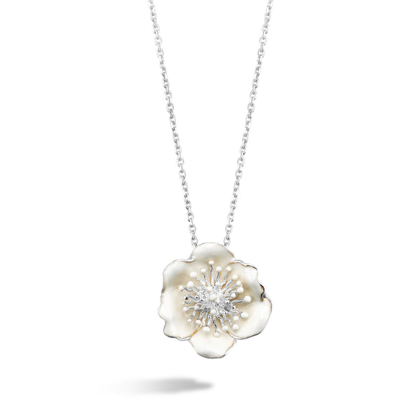 White Dreams - Silver Bloom Necklace - Topaz Jewelry USA - ROBERTO BRAVO