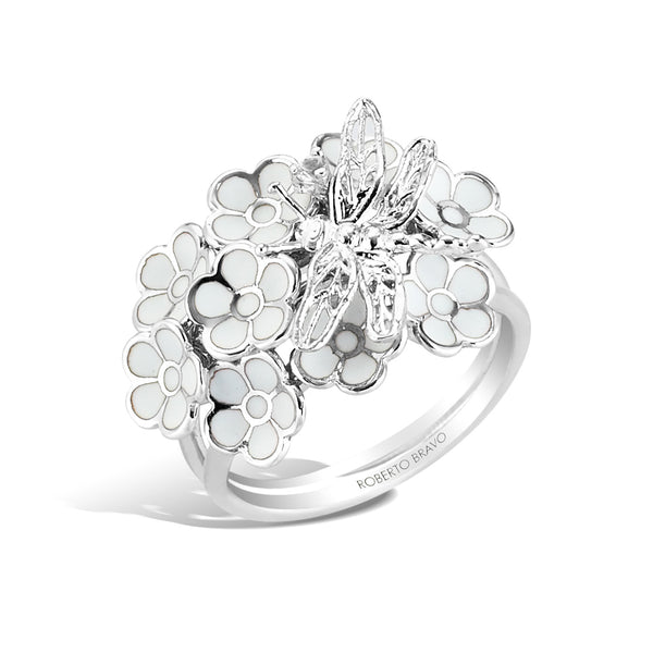 White Dreams - Silver Dragonfly Ring - Topaz Jewelry USA - ROBERTO BRAVO
