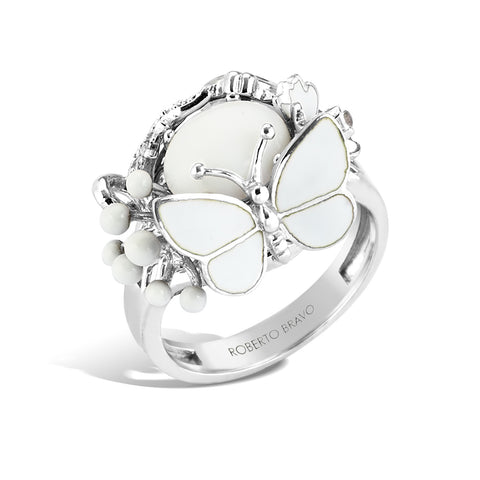 White Dreams - Silver Butterfly Ring - Topaz Jewelry USA - ROBERTO BRAVO