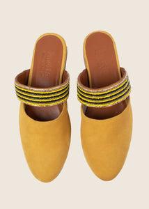 Beaded suede yellow mule with leather sole