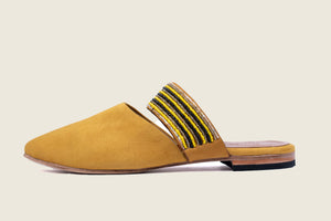 Yellow suede leather mules with beaded strap and leather sole