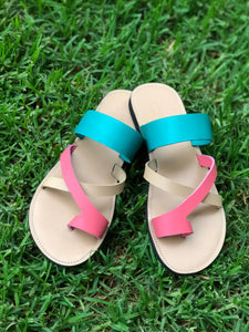 Turquoise Toe Cross Strap