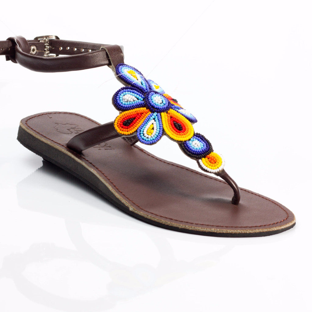 Handmade AfriCali Vacay Sandals - Leather sandals handmade by artisans in Kenya - One of a kind -Unique Genuine Leather Sandals