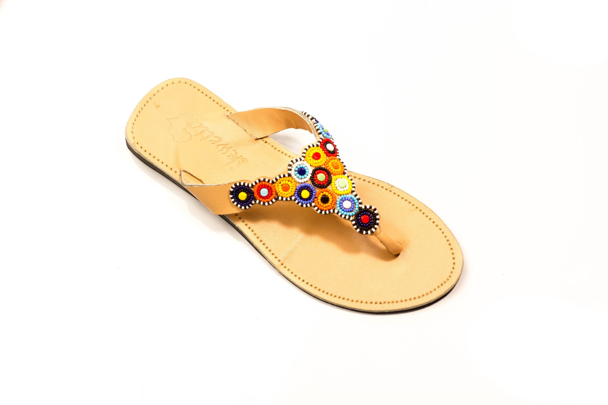 Maasai beaded leather sandals made in Kenya. Kenyan luxury brand.