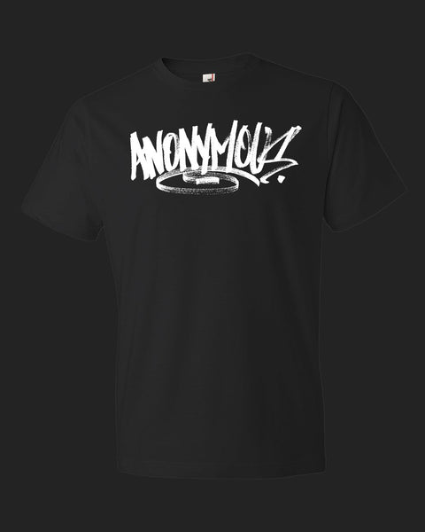 """anonymous"" graffiti t-shirt in black"