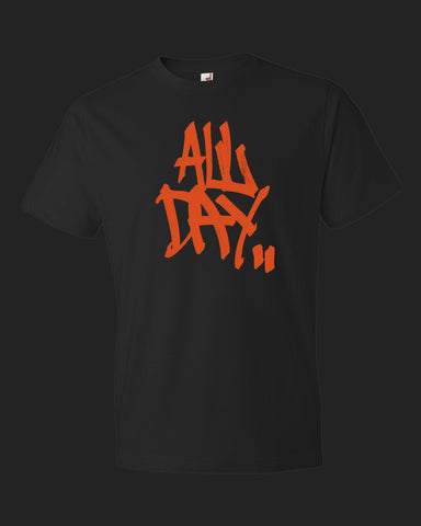 "Black t-shirt with graffiti handstyle logo in orange ""ALL DAY"""