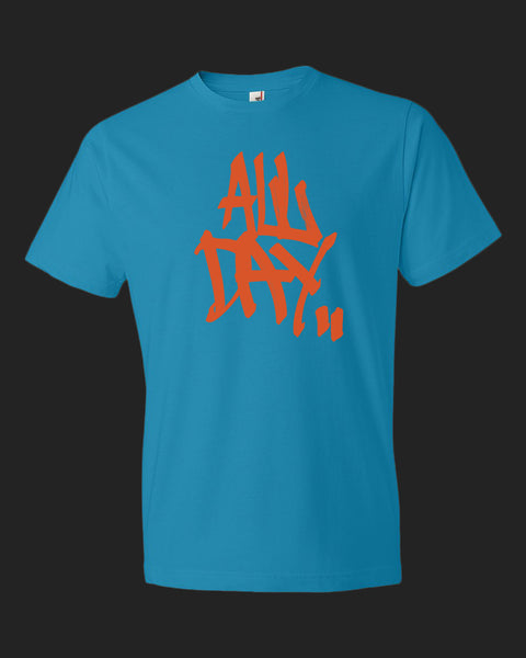"caribbean blue t-shirt with graffiti handstyle logo in orange ""ALL DAY"""
