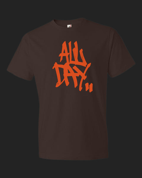 "Brown t-shirt with graffiti handstyle logo in orange ""ALL DAY"""