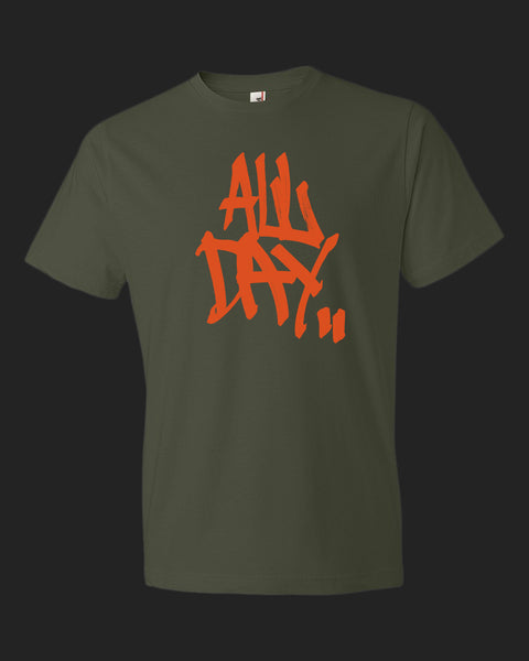 "army green t-shirt with graffiti handstyle logo in orange ""ALL DAY"""
