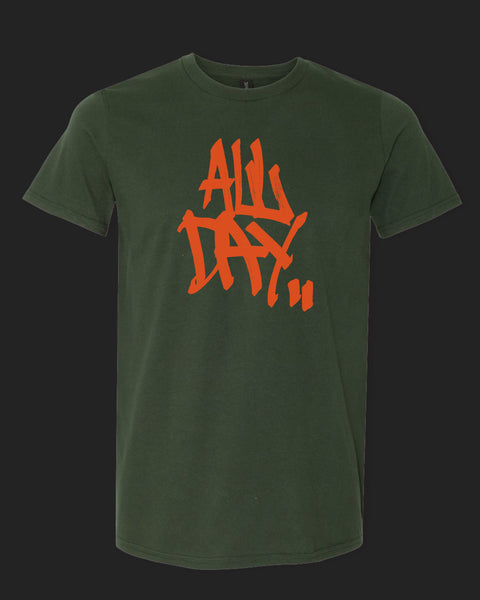 "Dark green t-shirt with graffiti handstyle logo in orange ""ALL DAY"""