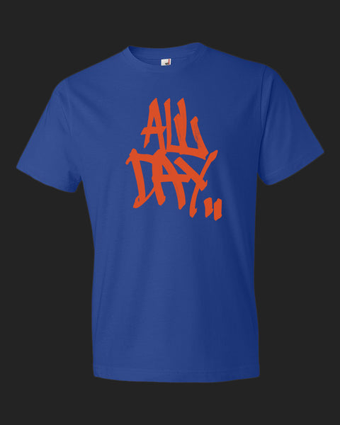 "royal blue t-shirt with graffiti handstyle logo in orange ""ALL DAY"""