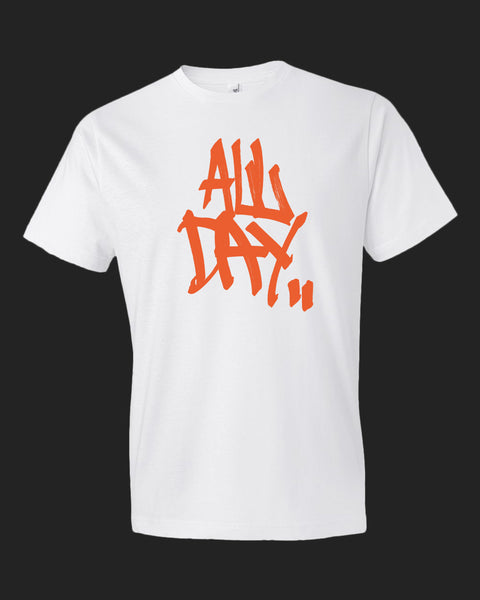 "White t-shirt with graffiti handstyle logo in orange ""ALL DAY"""