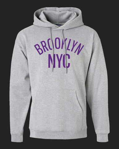 BROOKLYN NYC Hoodie - Light steel - Purple print