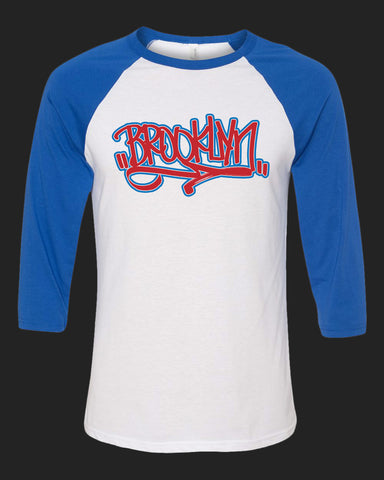 BROOKLYN Handstyle- Baseball Tee - Red & Royal Blue print