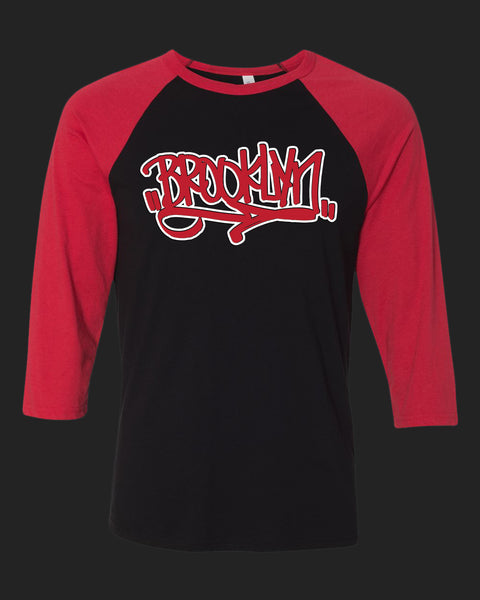 BROOKLYN Handstyle- Baseball tee -red & white print
