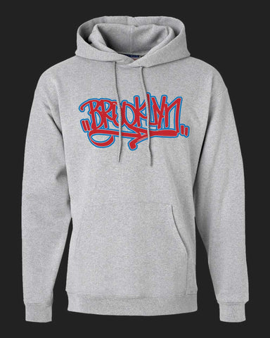 BROOKLYN Handstyle-Hoodie - Red & Royal Blue print