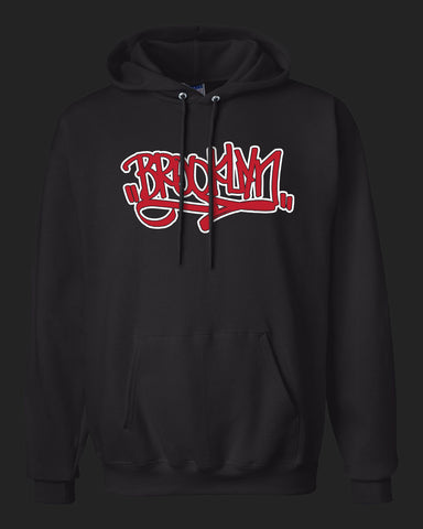 BROOKLYN Handstyle- Hoodie - Red & White print