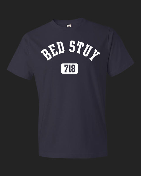 Brooklyn Bed Stuy 718 T-shirt, navy with white print