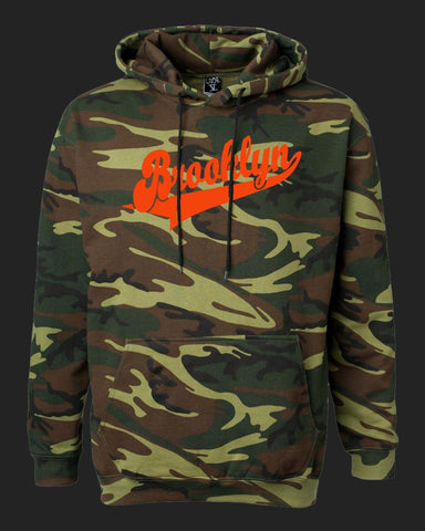 Brooklyn Dugout Hoodie Camo- Orange print